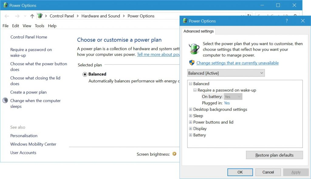 Default Balanced Power Plan on Microsoft Surface
