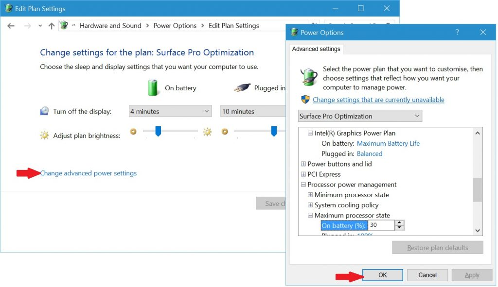Change Advanced Power Settings of Surface Pro Optimization Power Plan