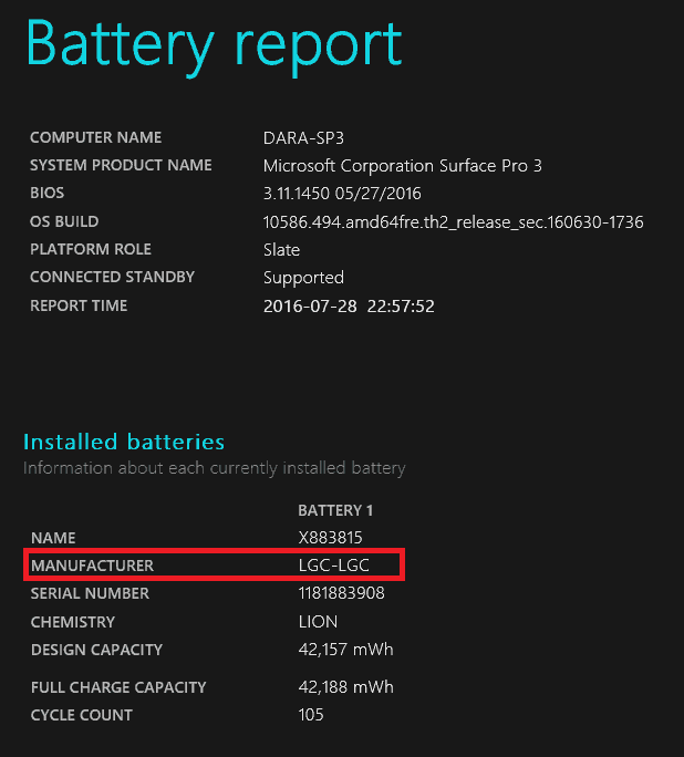 Surface Pro 3 Battery Manufacturer LG