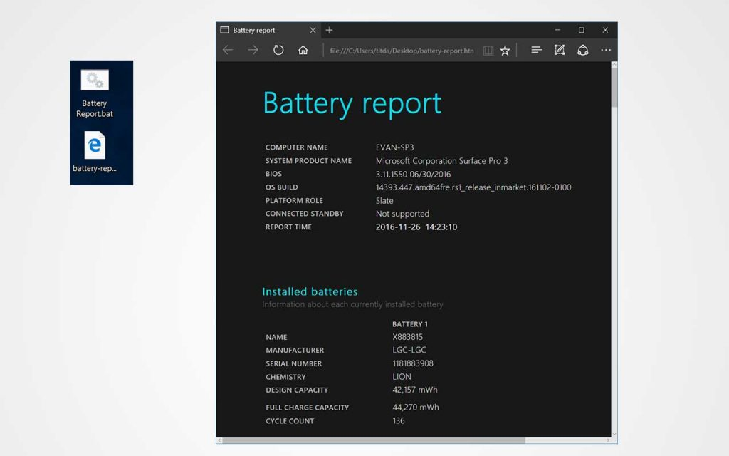 Generate and Access Battery Report with Batch File