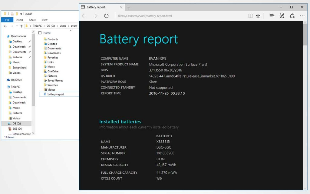 How to access the Surface's battery report