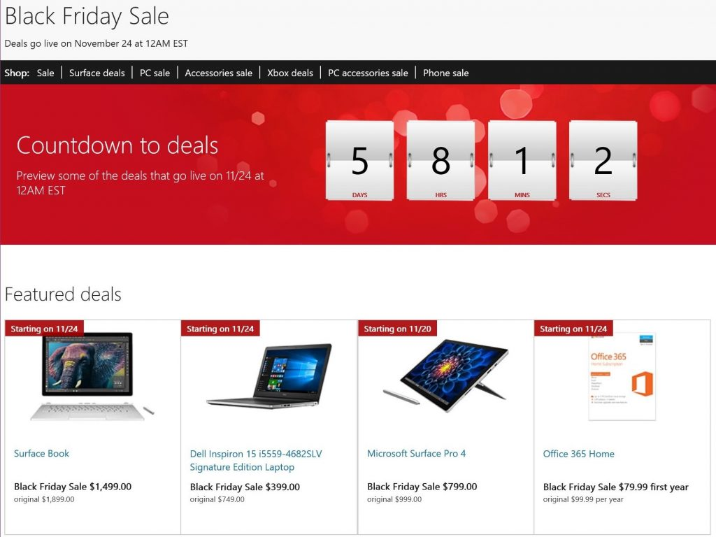 Black Friday Preview Page on Microsoft Store