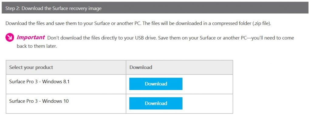 how to surface pro 3 recovery image