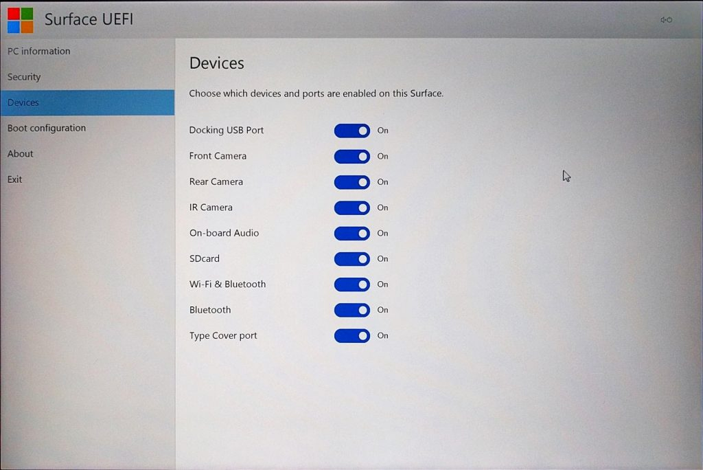 UEFI/BIOS setup on Microsoft Surface Pro 4 Guide