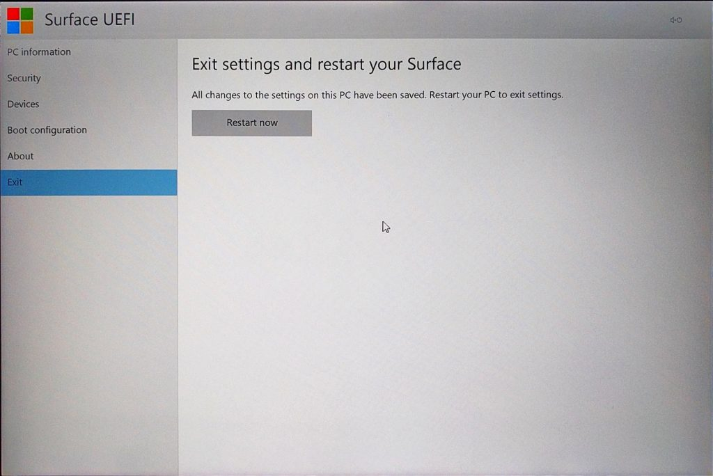 Surface Pro 4 - UEFI > Exit Page