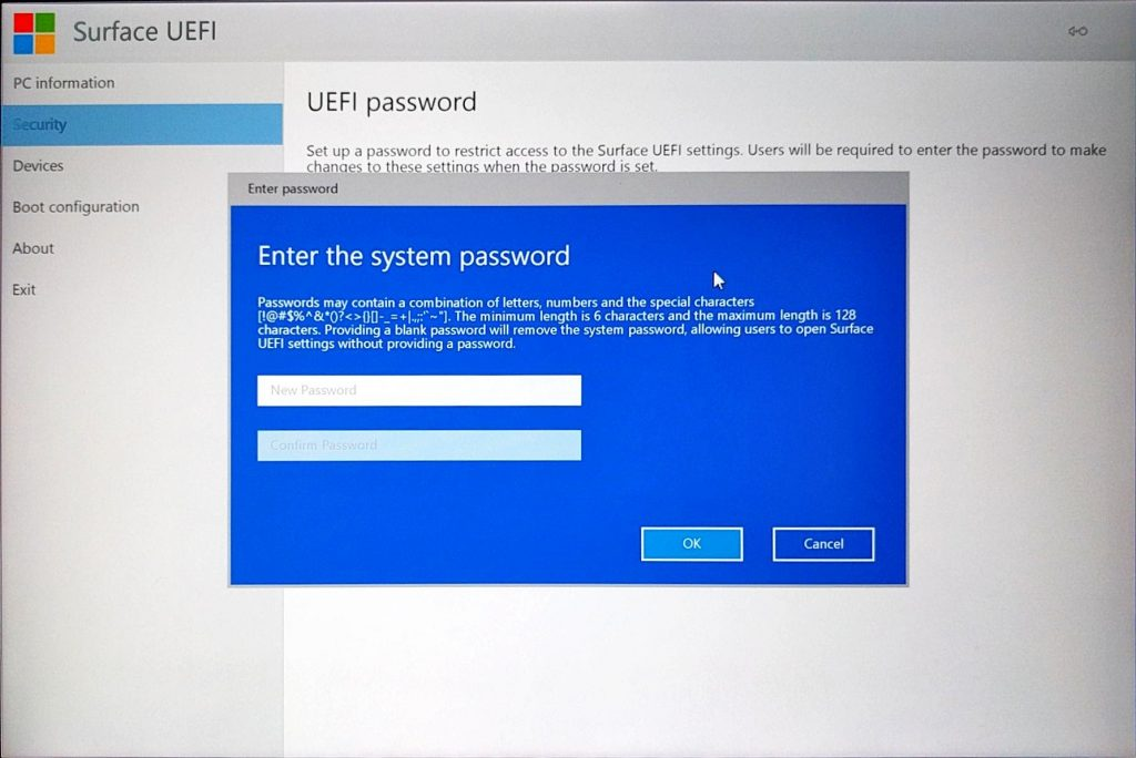 Surface Pro 4 UEFI > Security Page > Add Password