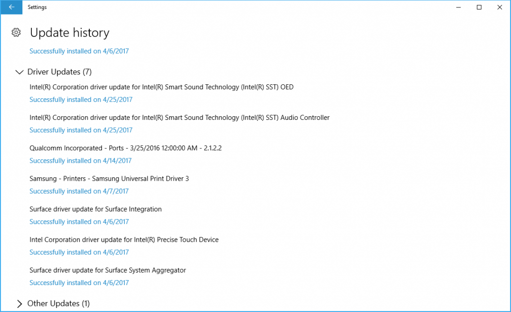 Surface Pro 4 Firmware Update 25-Apr-2017