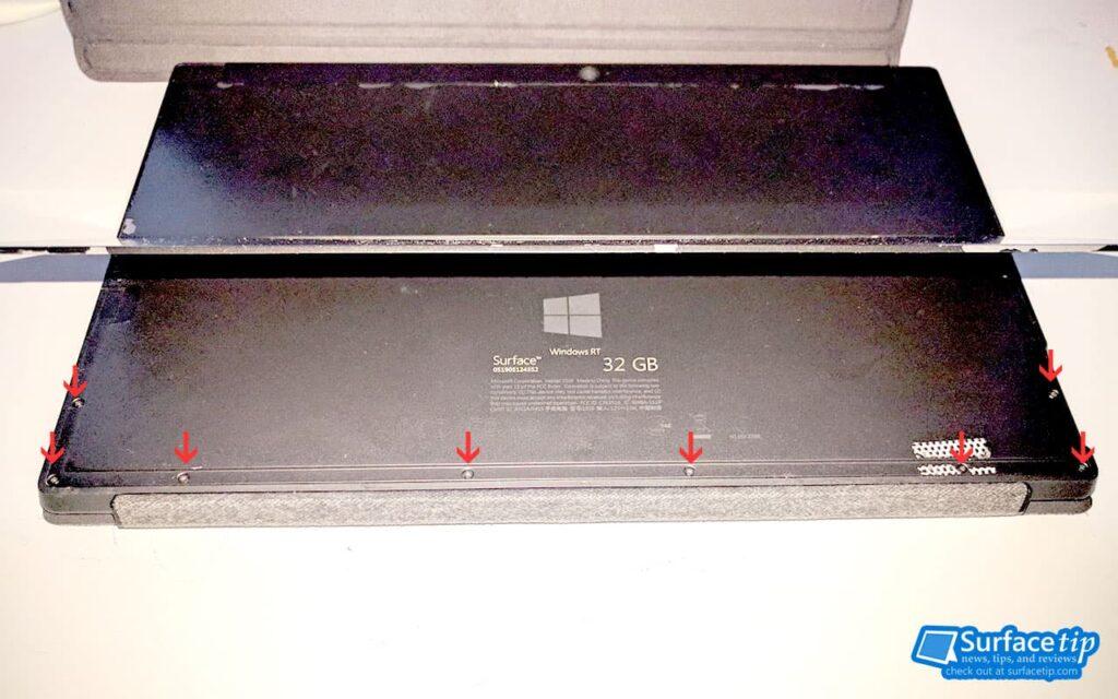 Tighten the Surface RT's loosen screws