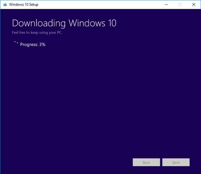 Wait for Windows 10 ISO file download