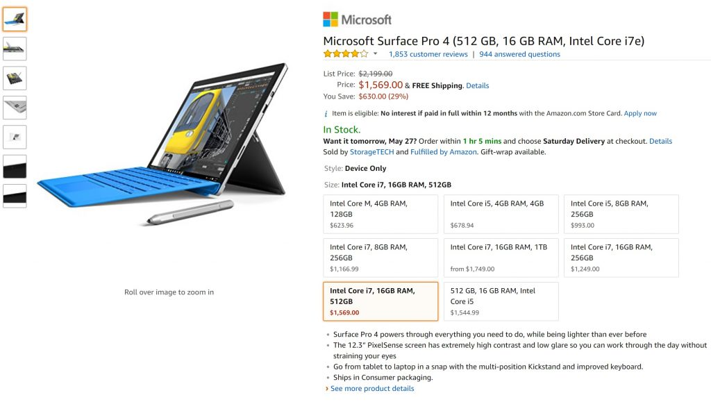 Surface Pro 4 prices on Amazon website