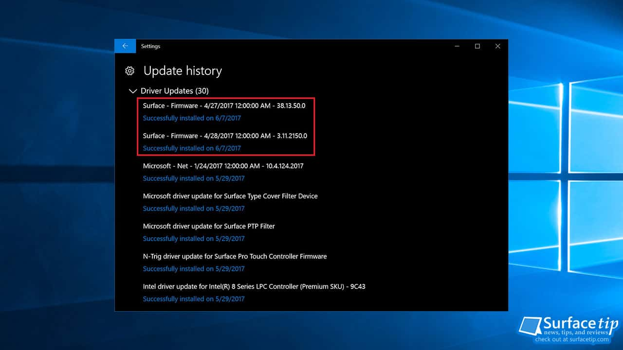 Surface Pro 3 Firmware Update on June 6, 2017