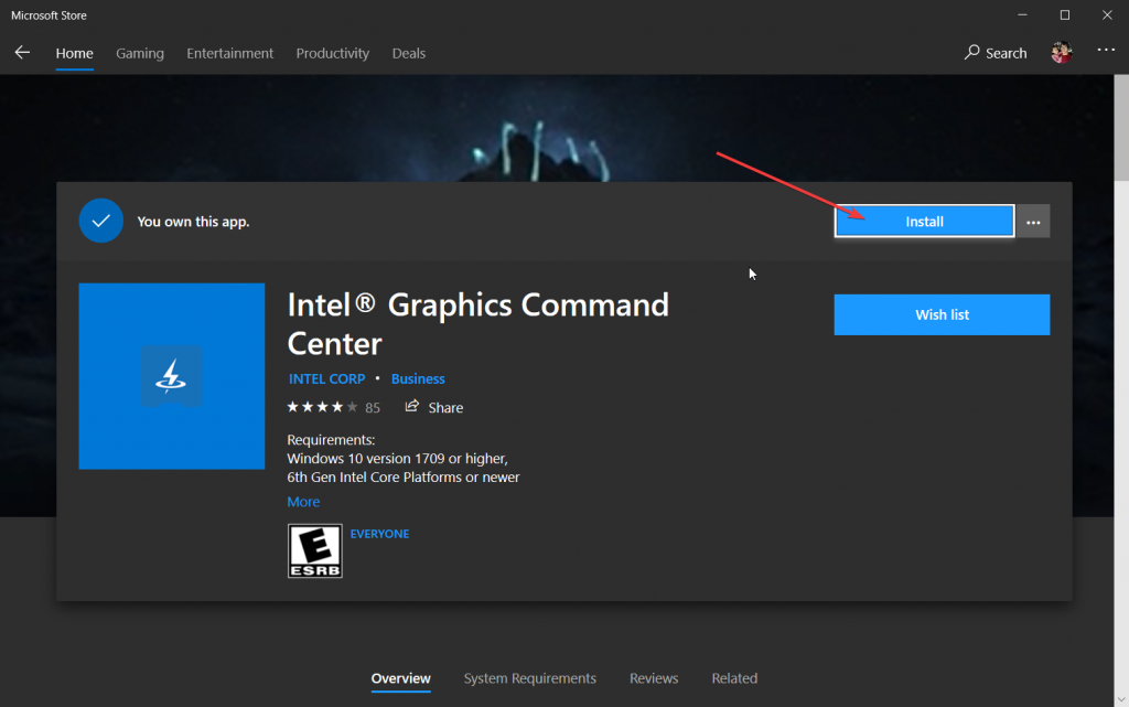 Install Graphics Command Center