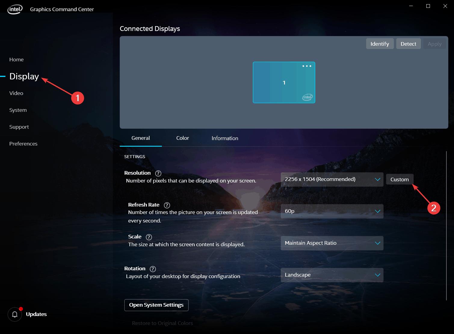 Add Custom Resolution via Intel Graphics Command Center