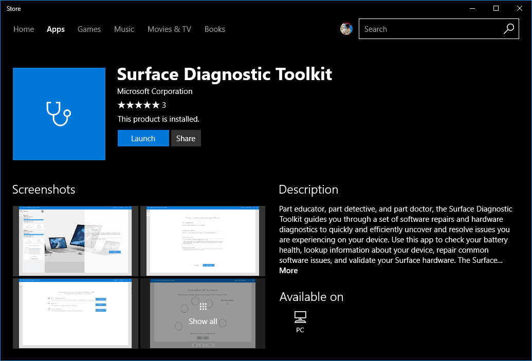 Download Surface Diagnostic Toolkit from Windows Store