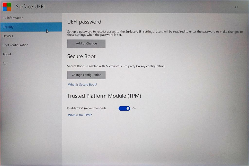 Surface Book UEFI > Security