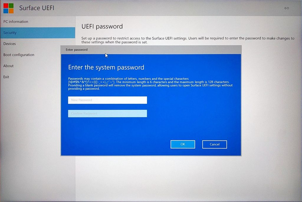 Surface Book UEFI > Add Password