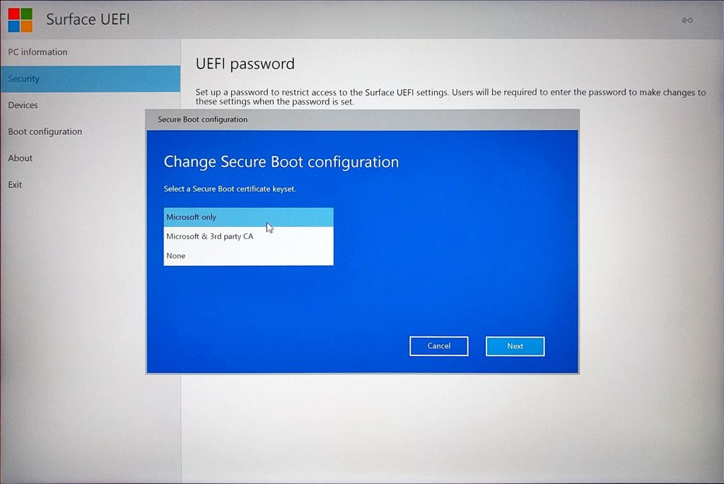 Surface Book UEFI > Change Secure Boot Configuration