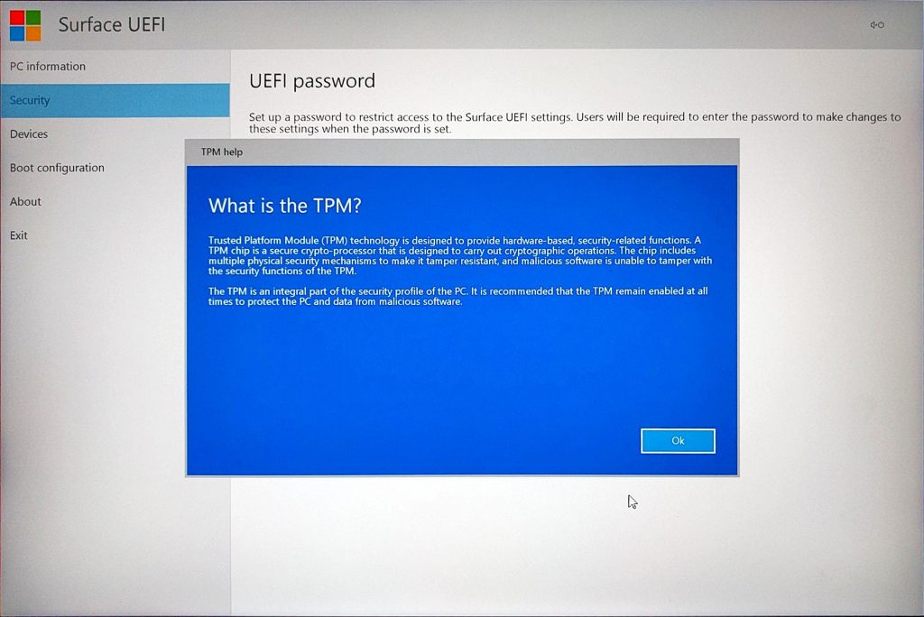 Surface Book UEFI > What is TPM?