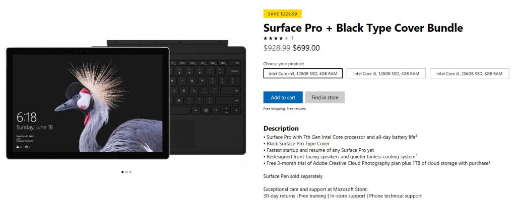Surface Pro Deal for February 2018