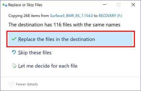 Replace Destination Files
