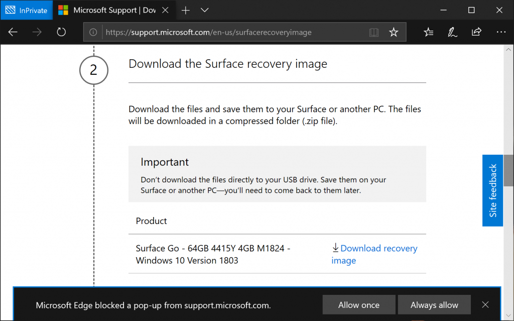 Download Surface Recovery Image - Edge Popup