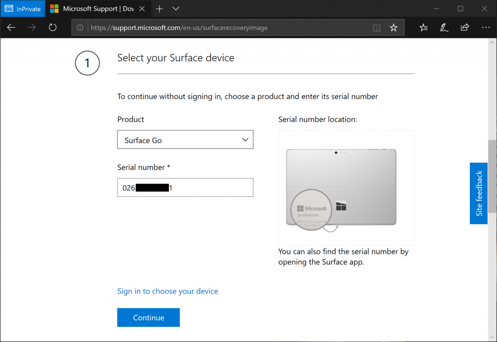 Choose Surface Go and Type Serial Number