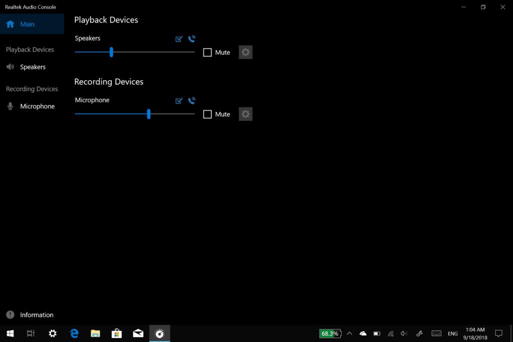 Realtek Audio Console app - Main Screen