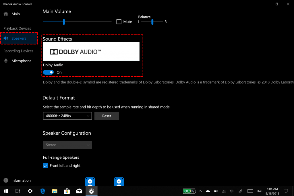Realtek Audio Console - turn on/off Dolby Audio