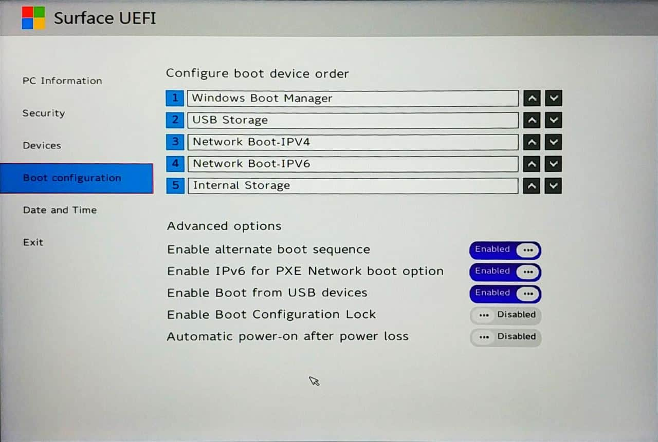 Surface Go UEFI - Boot Configuration