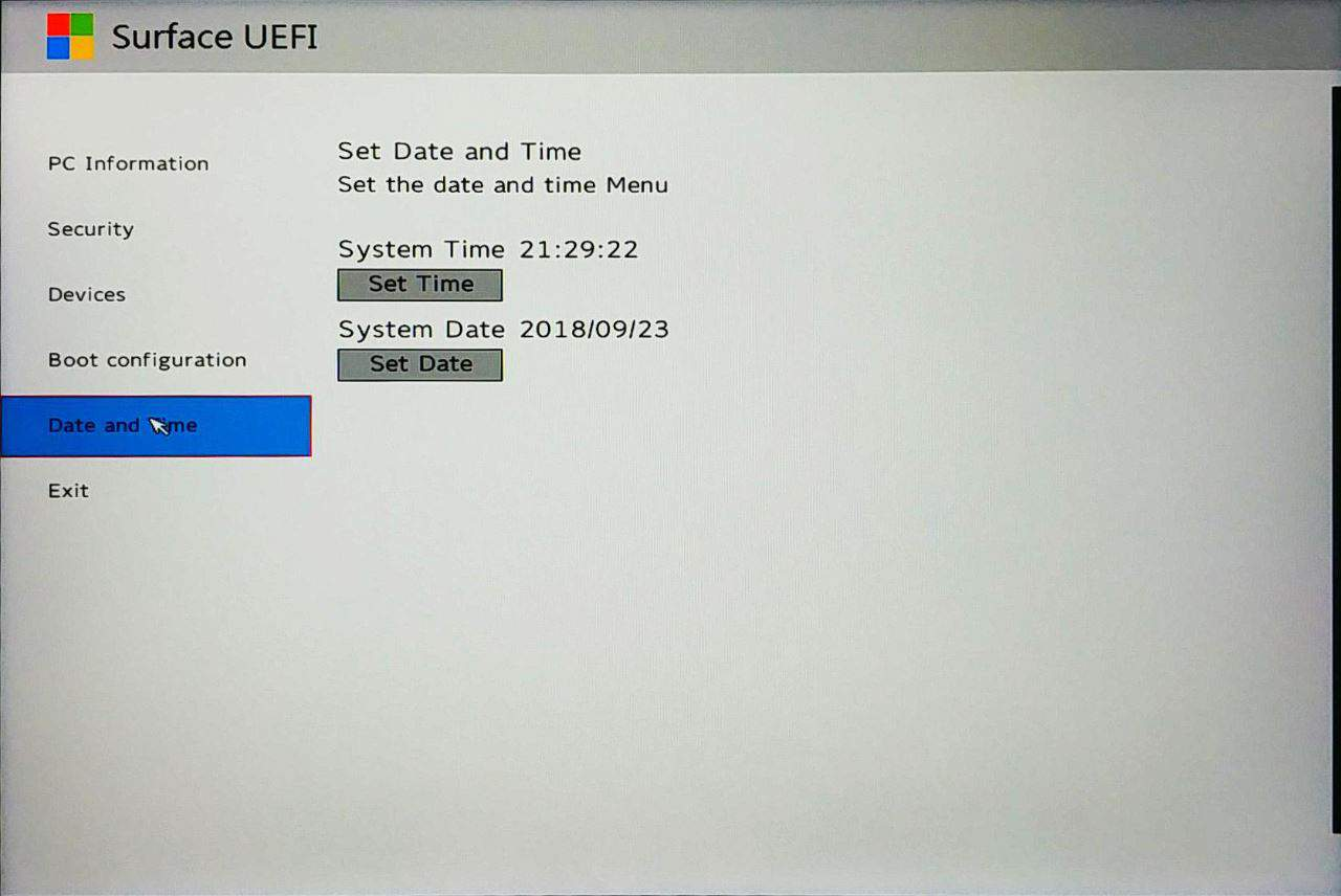 Surface Go UEFI - Date and Time