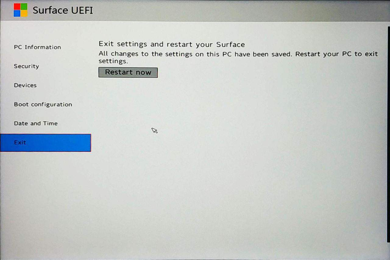 Surface Go UEFI - Exit