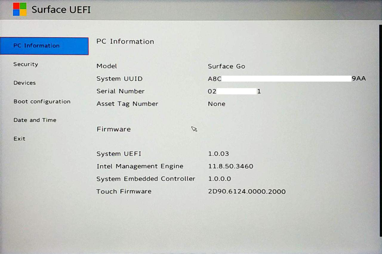 Surface Go UEFI - PC Information