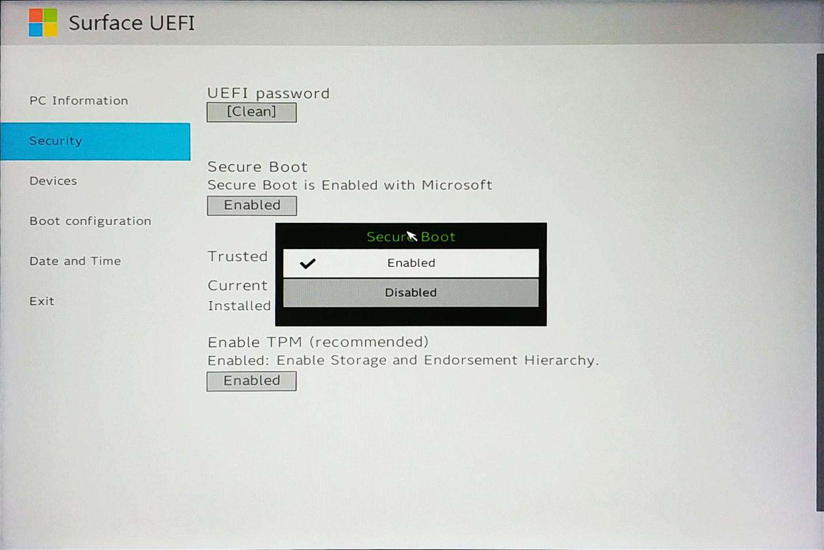 Surface Go UEFI - Control Secure Boot