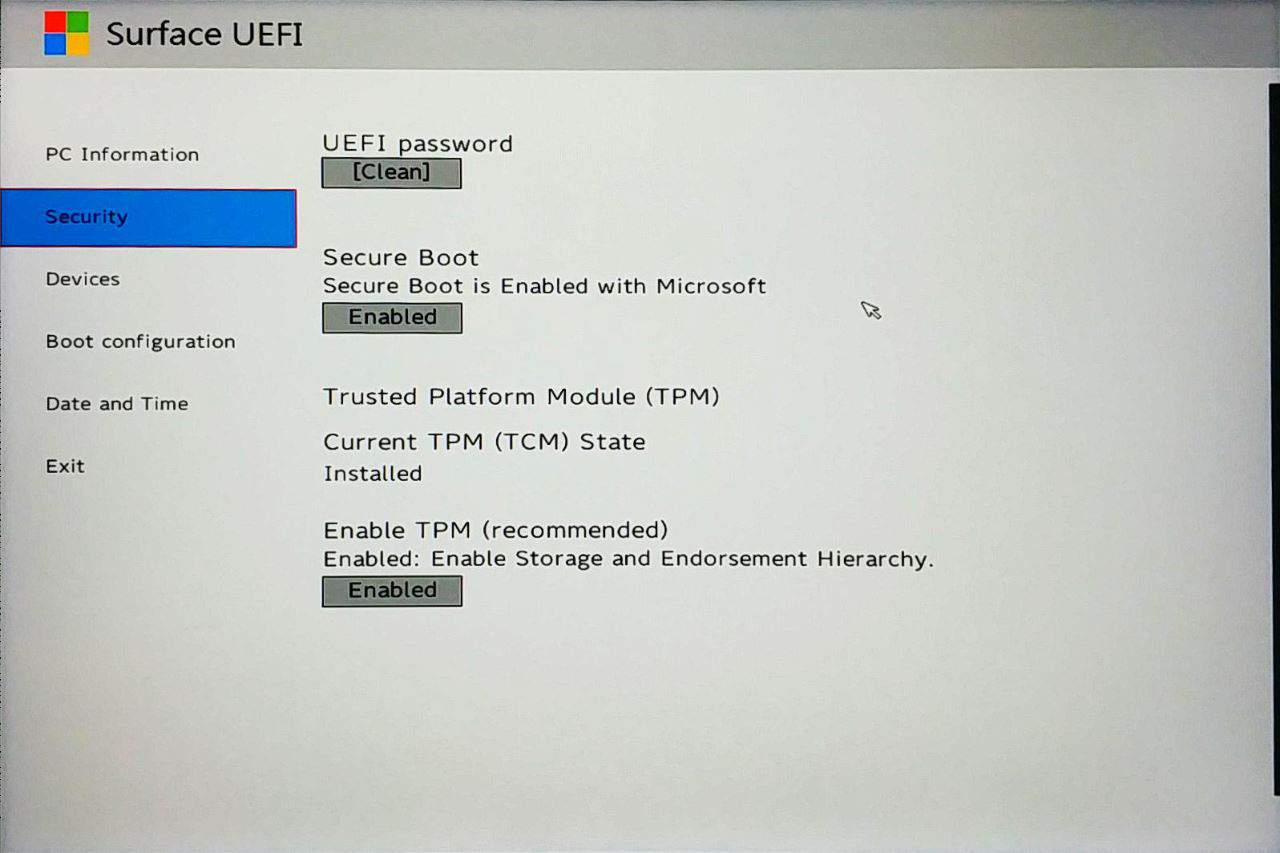 Surface Go UEFI - Security