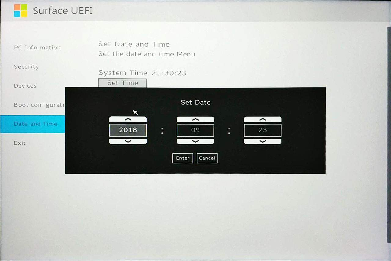 Surface Go UEFI - Set Date