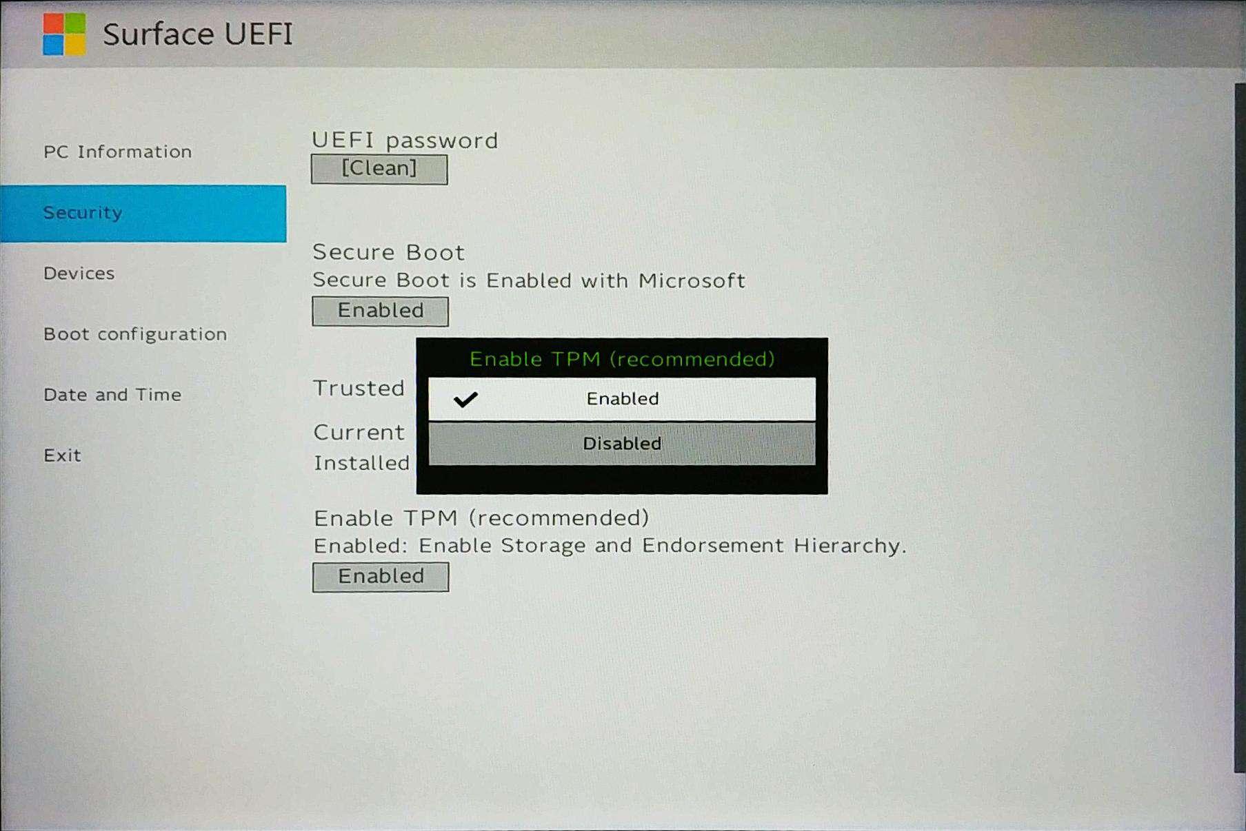 Surface Go UEFI - Control TPM