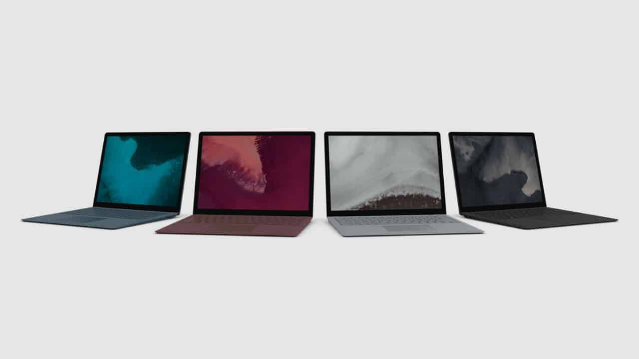 Microsoft Surface Laptop 2 in 4 colors