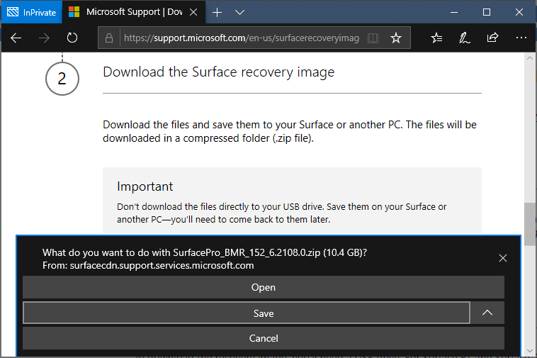 Confirm Download Surface Pro 6 Recovery Image