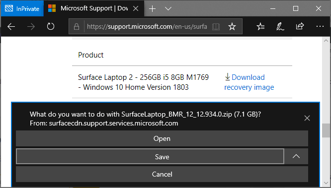 Confirm to save Surface Laptop 2 recovery image