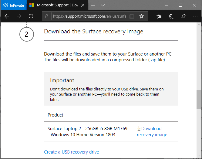 Choose and download the available Surface Laptop 2 recovery image