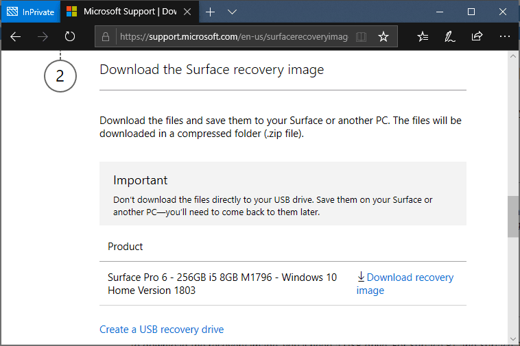 Download Surface Pro 6 Recovery Image
