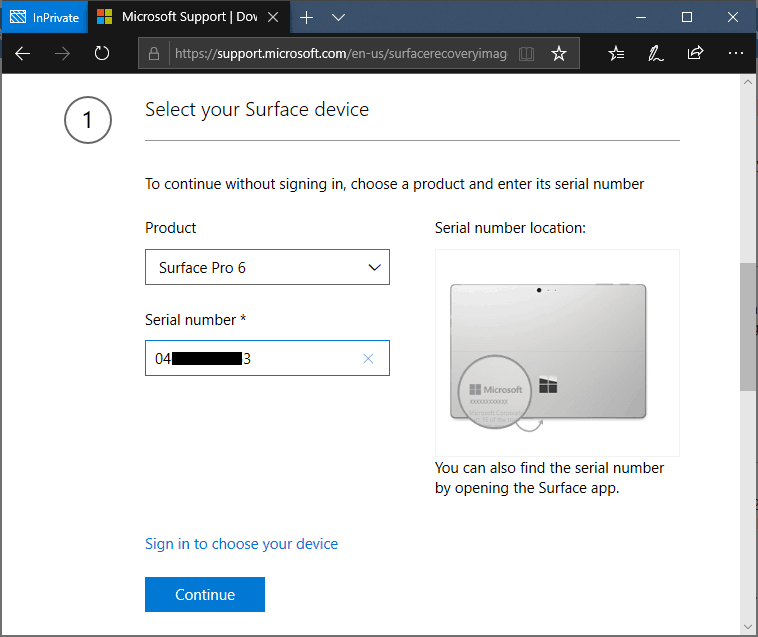 Choose Surface Pro 6 and enter serial number