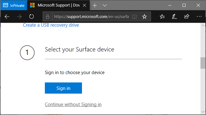 There are 2 options to start downloading Surface Recovery Image