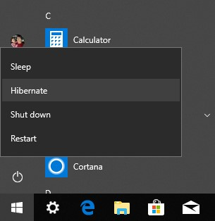 Hibernate available in Power menu