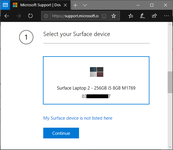 Select Surface Laptop 2 from the registered devices