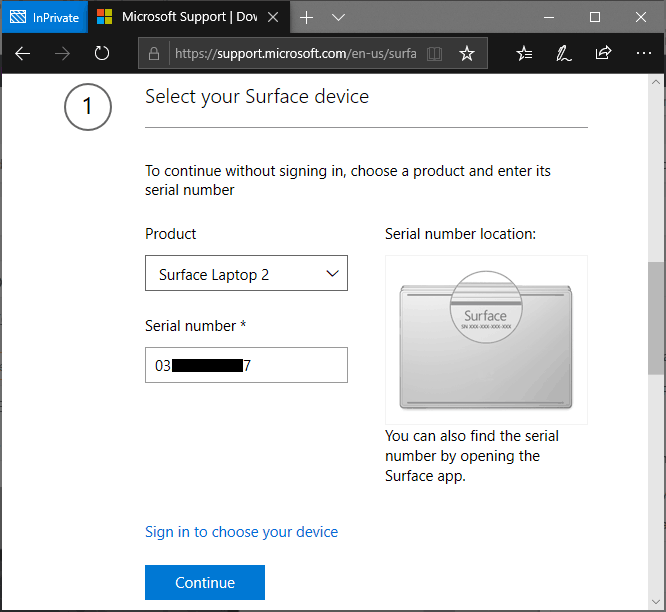 Select Surface Laptop 2 and type the serial number
