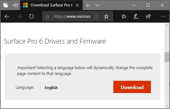 Surface Pro 6 Drivers and Firmware Download Page