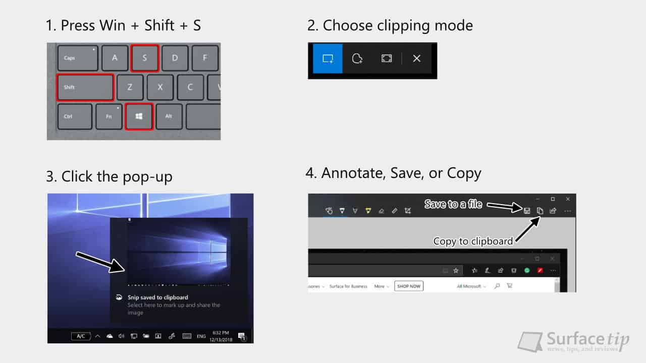 Surface Screenshot: Shortcut Keys