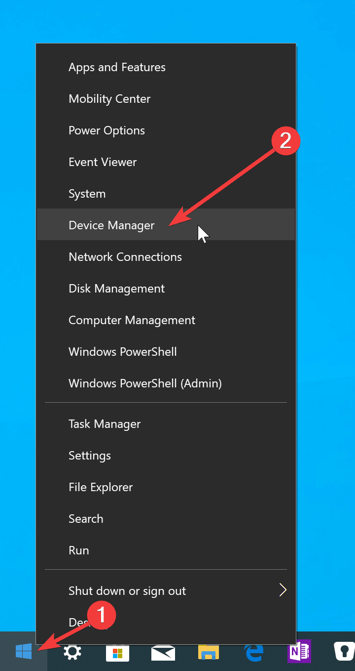 Right-click start > device manager