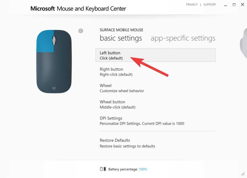 Configuring Surface Mobile Mouse - Left Click